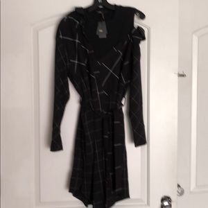 Dress robe carreaux in black & with new